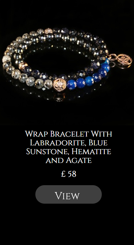 Wrap Bracelet With Labradorite, Blue Sunstone, Hematite and Agate