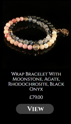 Wrap Bracelet With Moonstone, Agate, Rhodochrosite, Black Onyx