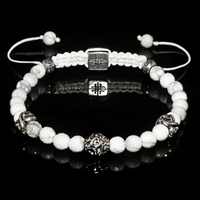 Howlite Silver Bracelet / Relaxation-Patience-Memory