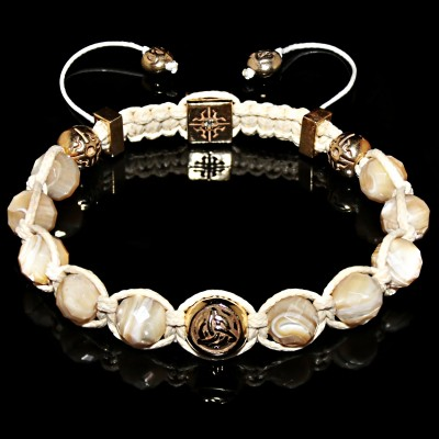 Mother of Pearl Power of Three  Bracelet  /  Power - Intellect - Love