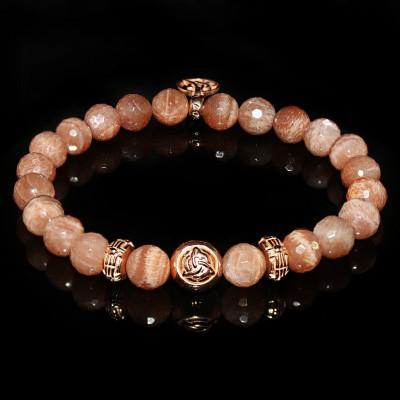 Peach Moonstone Bracelet Three Promises for Passionate Love