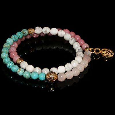 Wrap Bracelet With Agate ,Howlite , Rose Quartz  and Turquoise