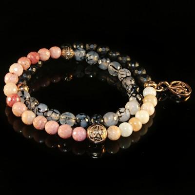 Wrap Bracelet With Moonstone, Agate, Rhodochrosite, Black Onyx