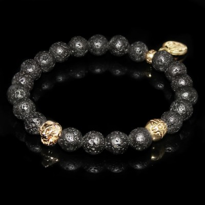 Black Lava Rock  Lion Bracelet  /  Energy and Strength