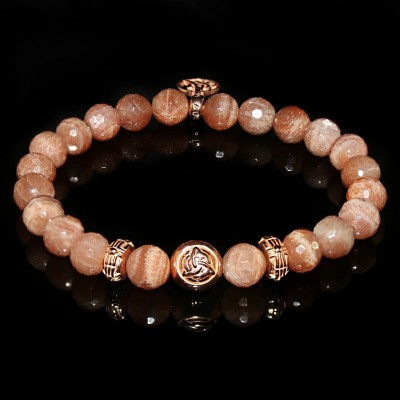 Peach Moonstone Bracelet / Three Promises for Passionate Love