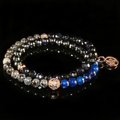 Wrap Bracelet With Labradorite, Blue Sunstone, Hematite and Agate