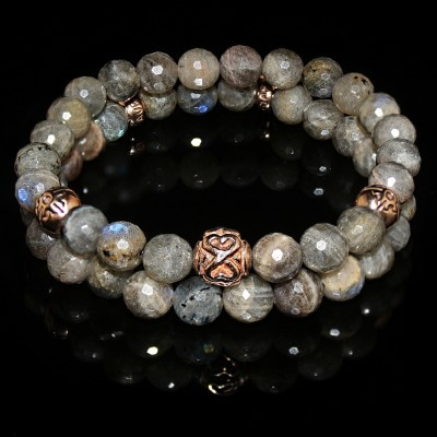 Labradorite Double Bracelet / Serenity - Clarity - Imagination