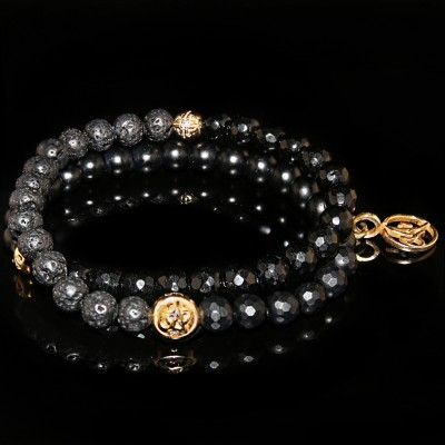 Wrap Bracelet Black Lava Rock and Black Onyx