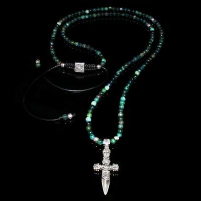 Moss Agate &  Dagger   Necklace / Wealth - Prosperity - Unity