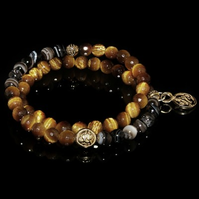 Wrap Bracelet With Golden Tiger Eye and Bulls Eye Agate